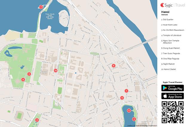 Hanoi Printable Tourist Map