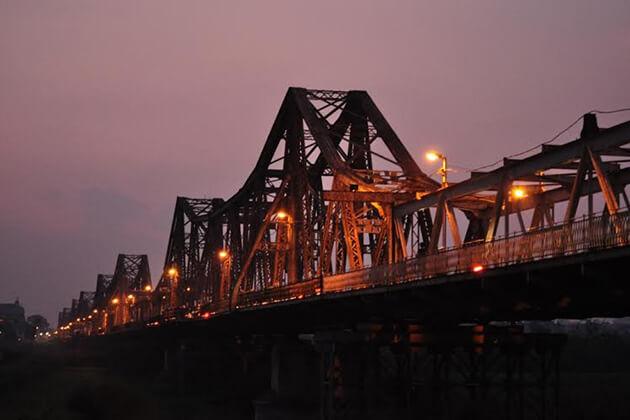 Long Bien Bridge at Dusk