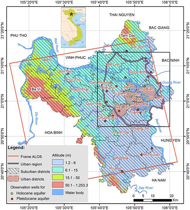 Map of Hanoi Urban District