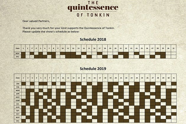 Schedule of The Quintessence of Tonkin Show 2019