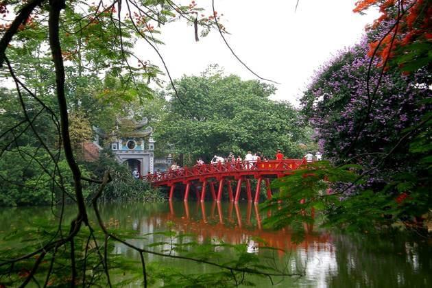 The Huc Bridge in Hoan Kiem LAke
