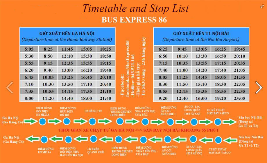 Timetable And Stop Lists of Bus 86 Hanoi Vietnam Tours