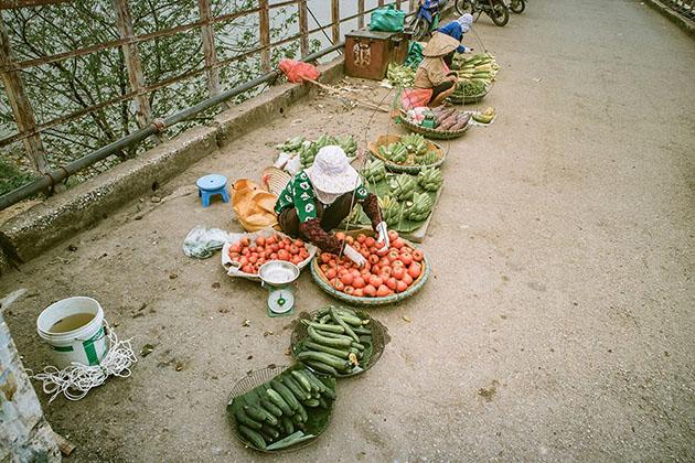 Market on Long Bien Bridge