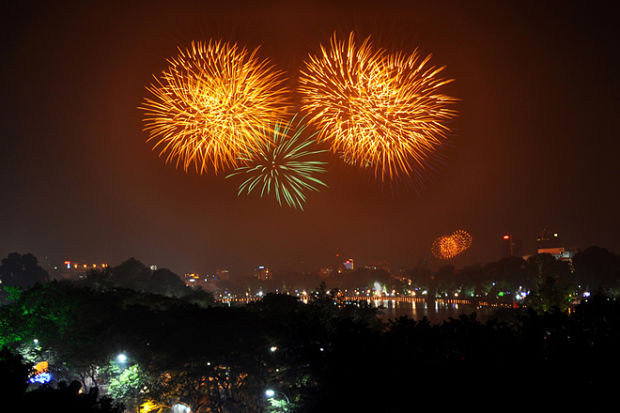 High Altitude Fireworks in Hanoi