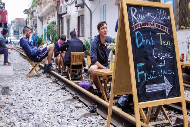 coffee shop on the tracks hanoi train street